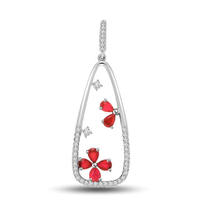 Floral Love : Diamond & 14kt White Gold & Ruby Pendants -Designer Pendants