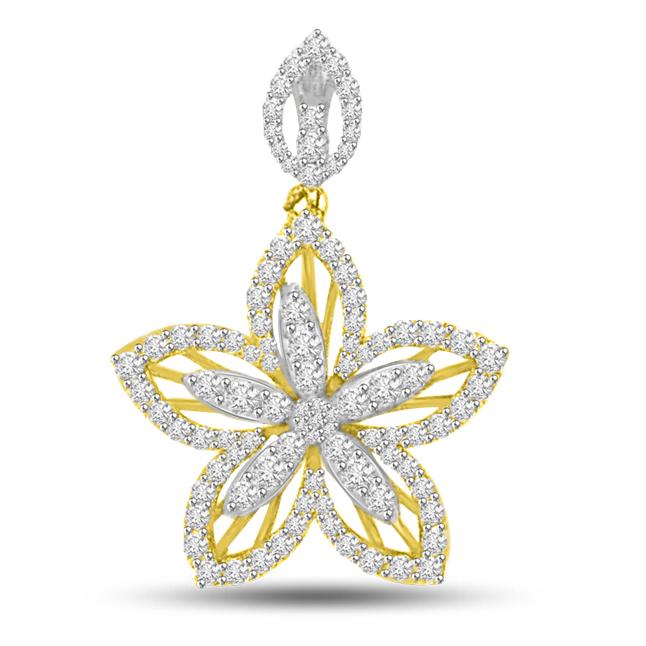 Dreamy Flower : Diamond & Gold Pendants for Her -Designer Pendants