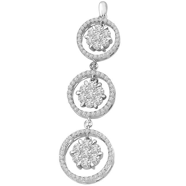 0.66 TCW Diamond Drop Pendants in White Gold -White Gold