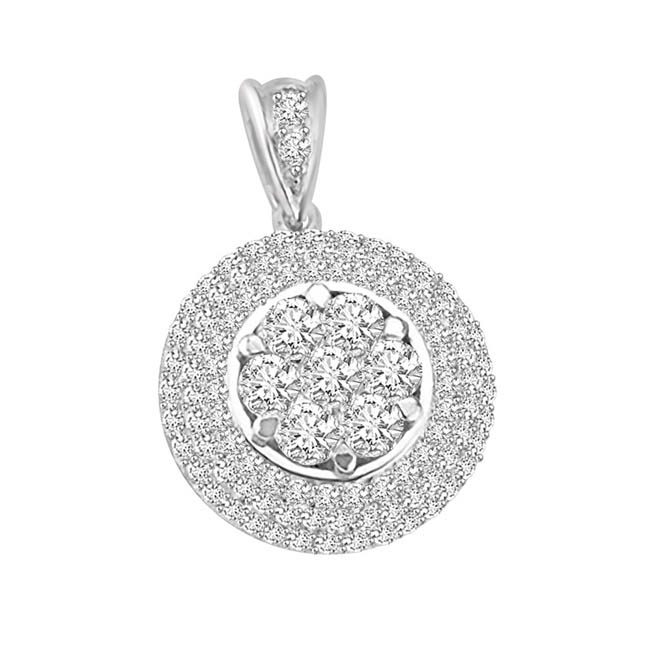 0.65 TCW Stunning circle shaped Diamond Pendants -White Gold