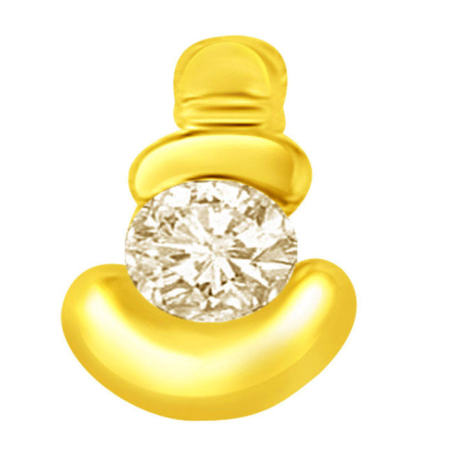 0.36ct Big Round Solitaire Diamond Pendants in 18k Gold -Solitaire