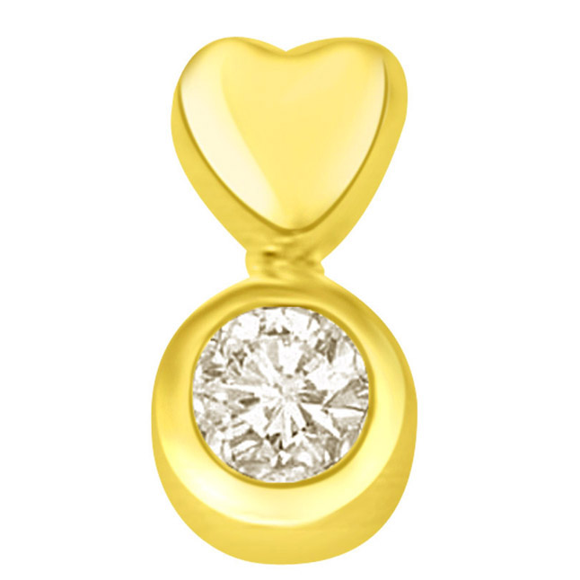 0.36ct big round diamond heart solitaire Pendants in 18k -Solitaire