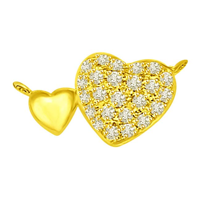 You & Me Lovey Dovey Twin Heart Pendants in 18kt Gold