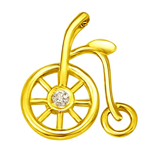 Peddling Along with Diamond Wheel Pendants in 18k -Teenage