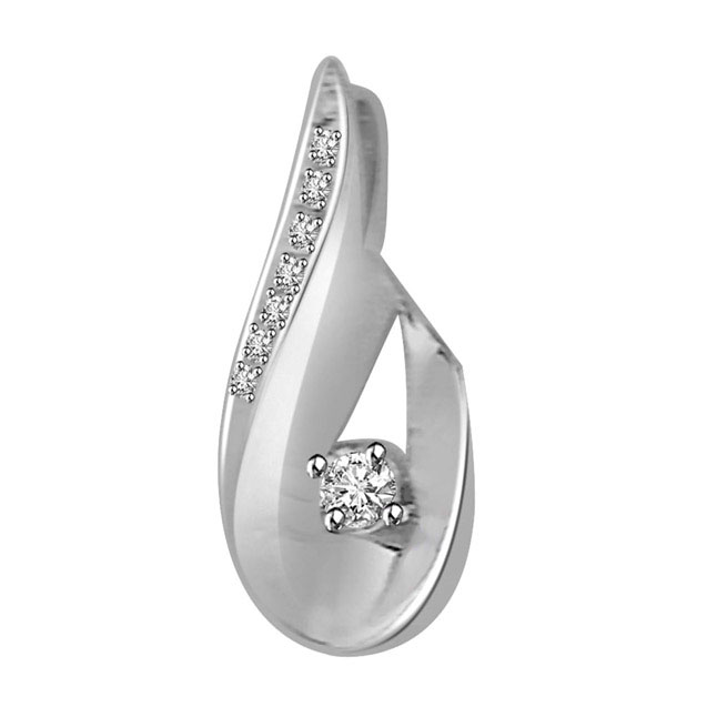 Style & Substance Solitaire Diamond Pendants in 14k -White Gold