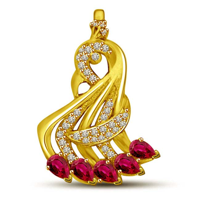 Falling Red Ruby & Real Diamond 5 Line Pendants -Diamond -Ruby