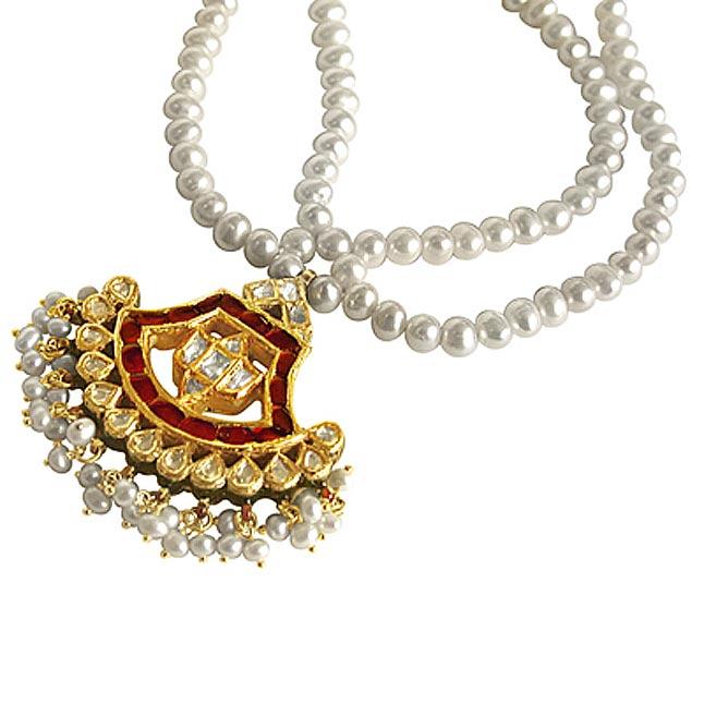 Jadtar Diamond Pendants -Meenakari Jadtar