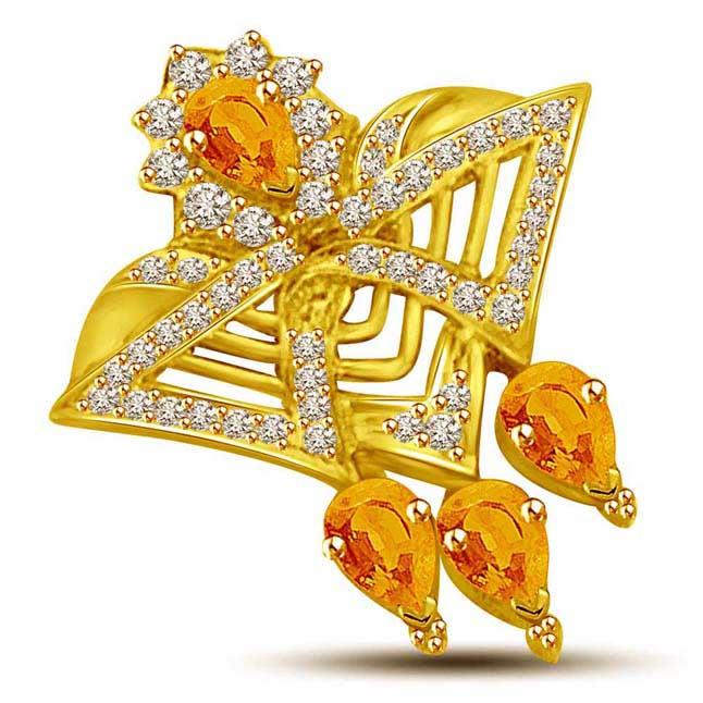 Yellow Uniqueness Diamond & Golden Topaz Star Power Diamond Gold Pendants -Dia+Gemstone