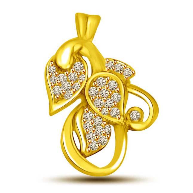 You Me & Our Love 3 Leaf Diamond & Gold Pendants -Designer Pendants