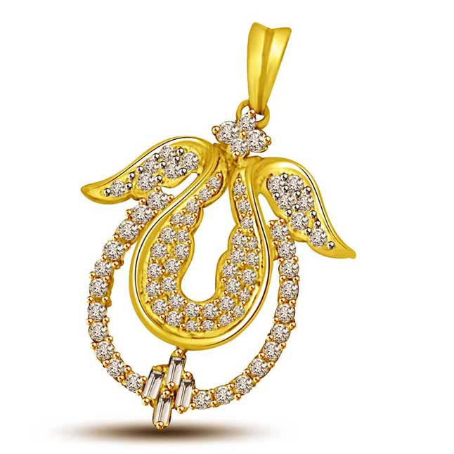 Delighted Diya 0.46CT Round & Baguatte Diamond Mangalsutra Pendants -Designer Pendants