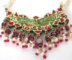 3 Line Pearl & Garnet Necklace with Diamond Pendants -Meenakari Jadtar