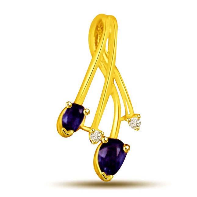 You & Me Diamond & Oval Blue Sapphire & Gold Pendants