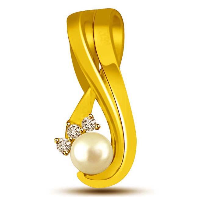 Diamond & Real White Button Pearl Gold Pendants -Designer Pendants