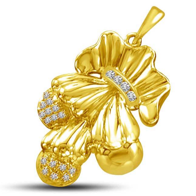 Couple Charm 0.10ct Stylish Diamond & Gold Pendants -Designer Pendants