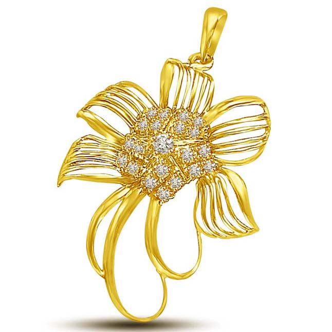 Exotic Flower Shaped Diamond & Gold Pendants