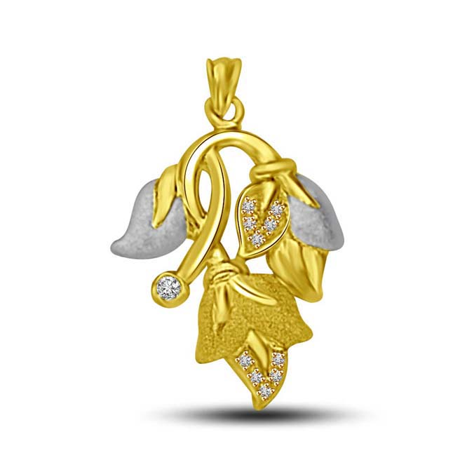 Unquestionable Appeal Two tone Diamond & Gold Leaf 18KT Pendants for Her