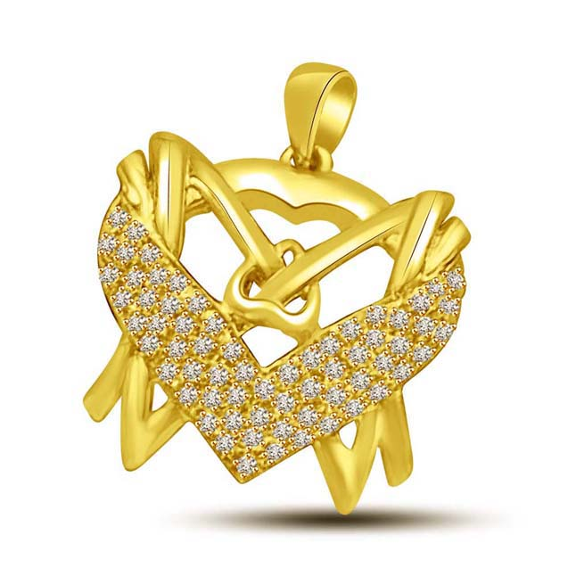 Winsome Twin -Some Diamonds all around in my Heart … Gold Pendants for Her