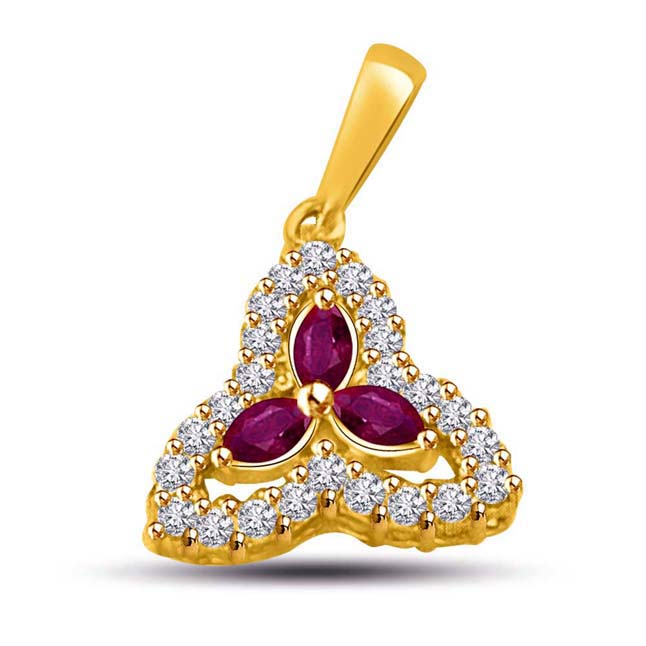 Triple Dazzling Diamond & Ruby Pendants -P888 -Diamond -Ruby