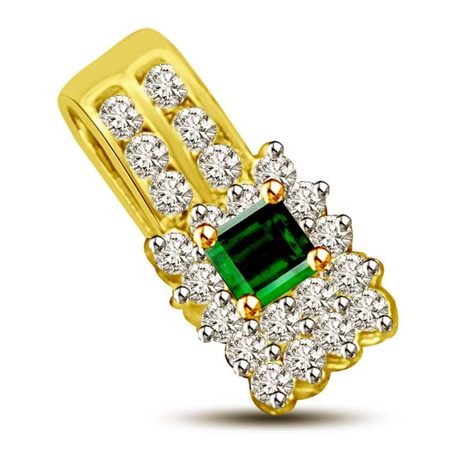 Emerald & Clean White Diamond 18KT Gold Pendants for Her