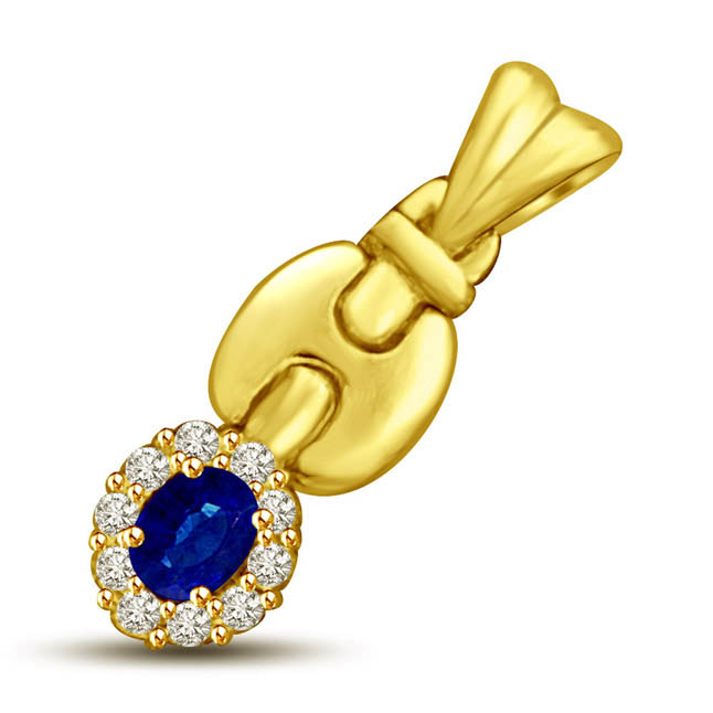 Blue Sapphire & Diamond Fine Gold Pendants for My Love