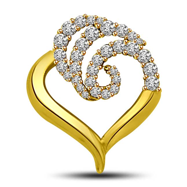 Curves of Diamonds across your heart -0.37 TCW Heart Pendants