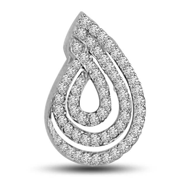 0.40 TCW Beautiful Diamond Pendants in white gold -White Rhodium Pendants