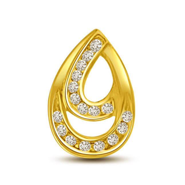 0.17 TCW Diamond drop shaped Pendants in 18kt gold -Designer Pendants