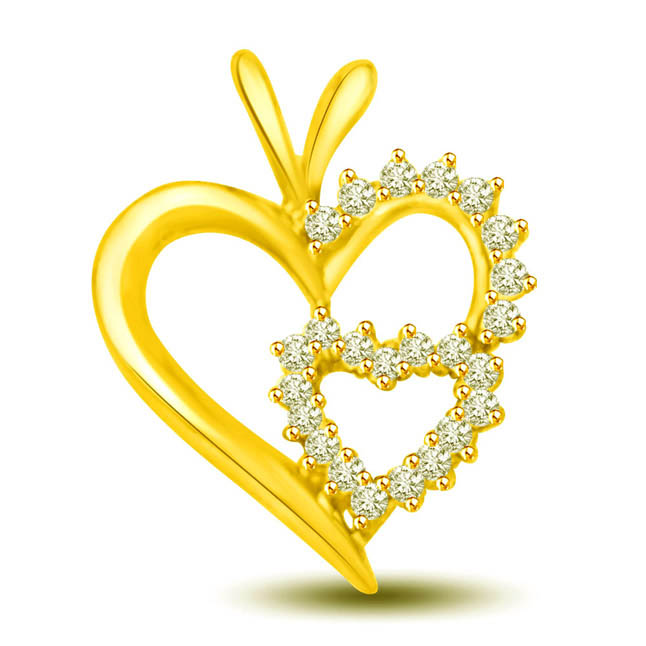 Made for Each Other 18k Diamond Heart Pendants