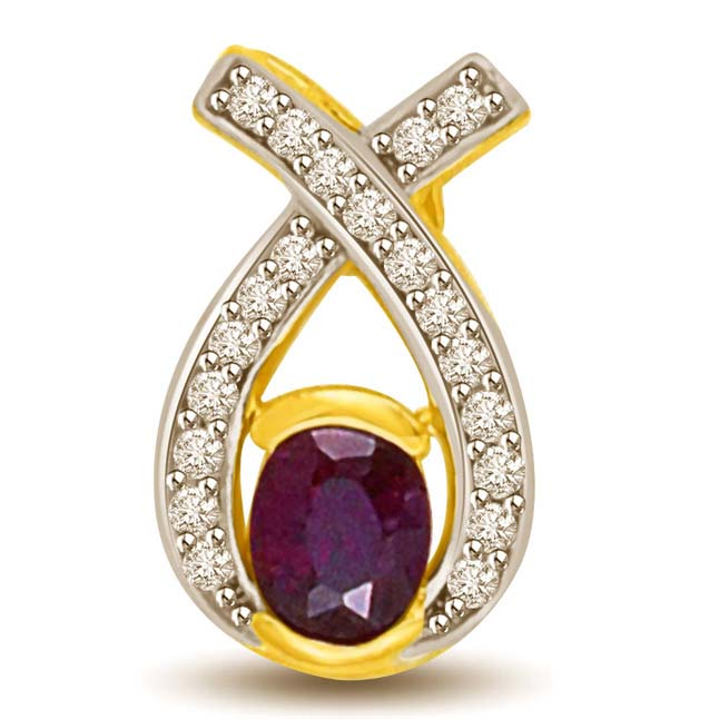 Oval Sapphire & Diamond Two Tone Gold Pendants for Her