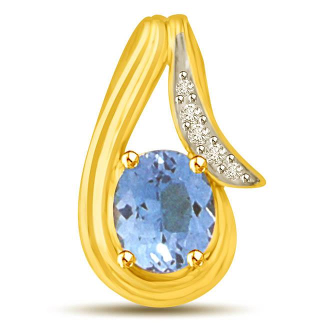 Blue Topaz & White Diamond & Gold Pendants for Her -Dia+Gemstone