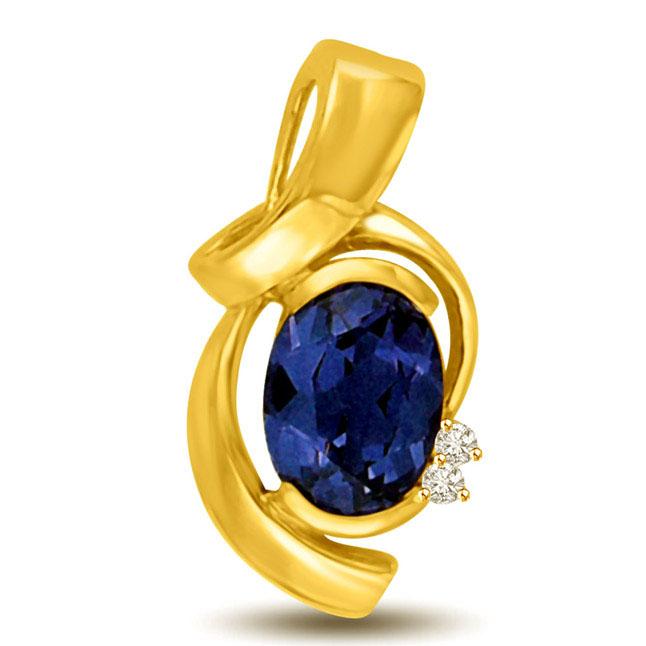 Oval Sapphire & Diamond Elegant 18kt Gold Pendants