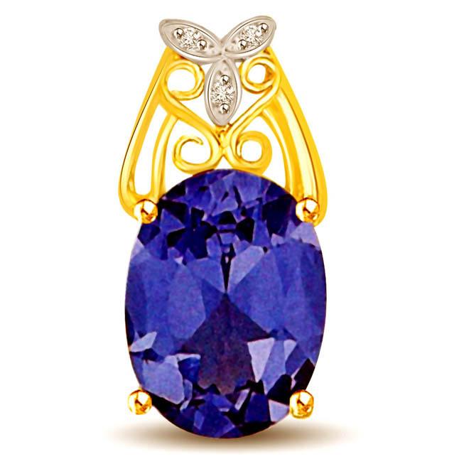 1 CT Blue Oval Sapphire & Diamond Leaf 18k Gold Pendants