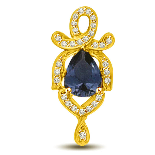 Diamond & Pear Sapphire 18kt Gold Pendants for Her