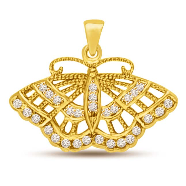0.29ct Diamond Butterfly 18k Gold Pendants for my LOVE -Teenage