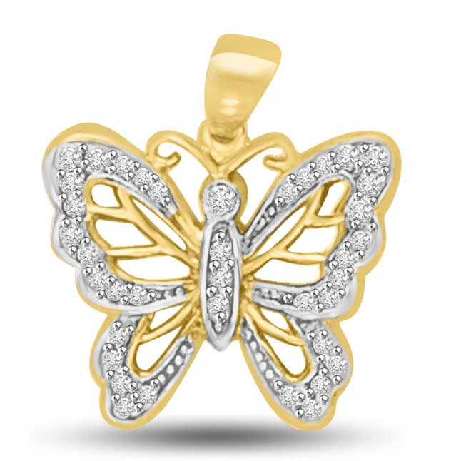 0.20CT Gold & Diamond Butterfly Pendants for Love -Teenage
