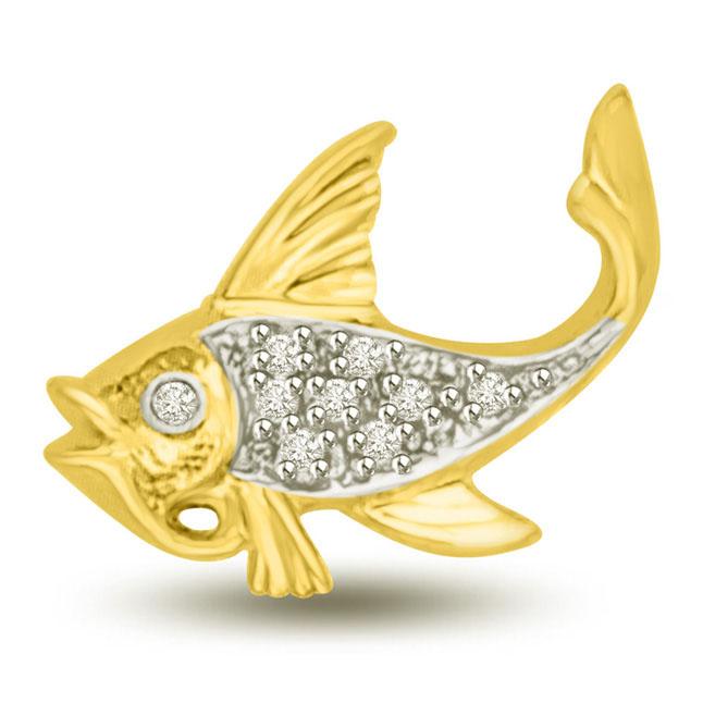 Gold & Diamond Fish Pendants for My Desire -Teenage