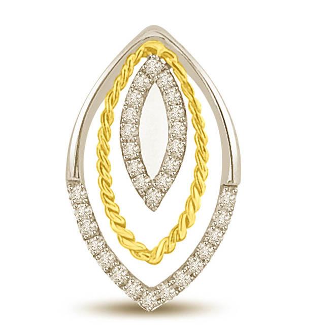 0.22CT Two Tone Diamond & Gold Pendants for My Princess
