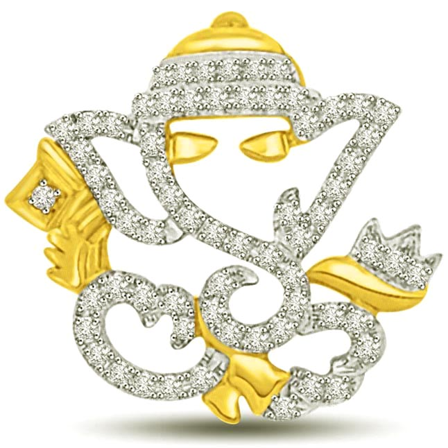 VIGHNAHARTA Diamond & Gold Ganesha Pendants -Religious