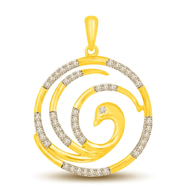Wheels of Fortune Two Tone 18k Gold & Diamond Pendants -Designer Pendants