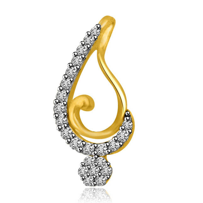 0.17ct Two Tone 18kt Diamond & Gold Lovely Pendants -Designer Pendants
