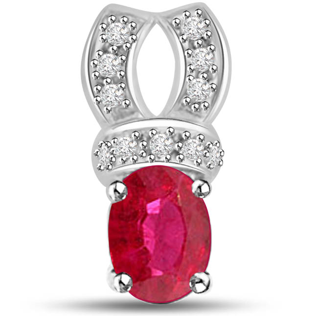 Passionate Curve Radiant White Gold Pendants Of Ruby Diamonds -Diamond -Ruby