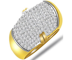 Pave Setting Diamond Wide B rings In 18k Gold