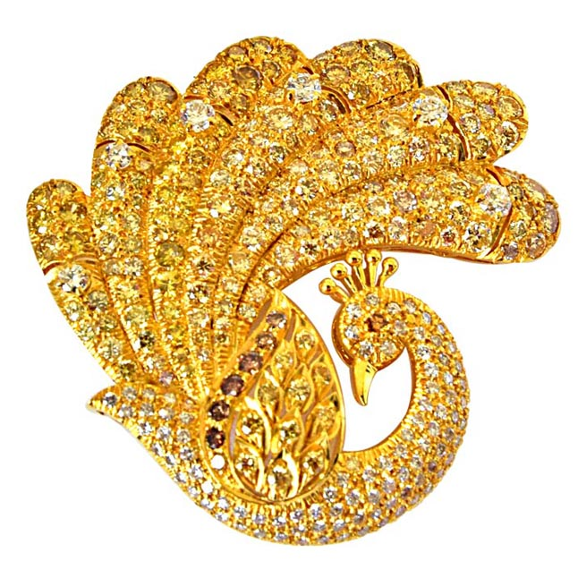 IGL Certified 5.79ct Real Diamond & 18k Gold Peacock Shaped Brooch