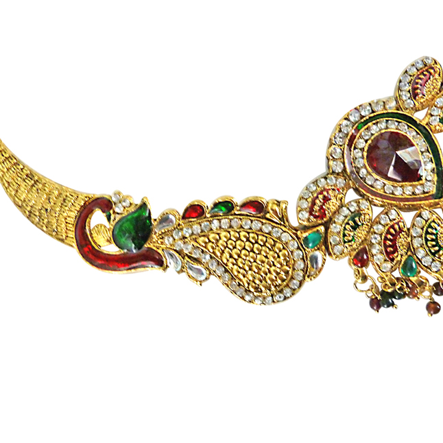 Peacock Splendor -Traditional Red & Green Polki Fasihon Jewellery Set
