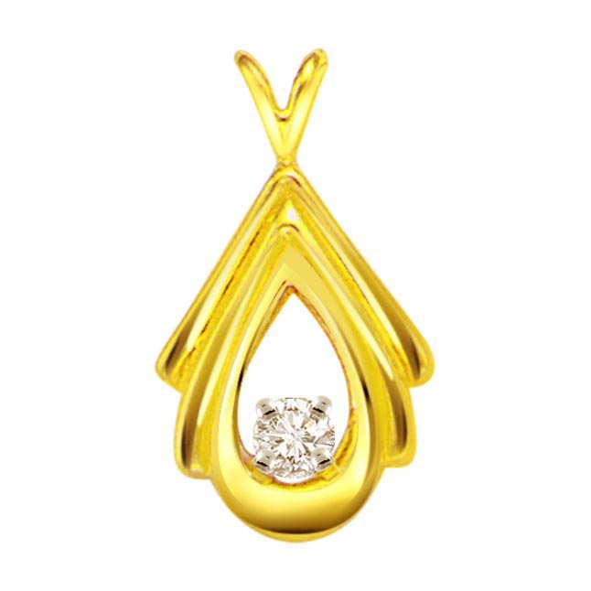 Pear Goddess 0.10ct Diamond Solitaire Pendants P427 -Solitaire