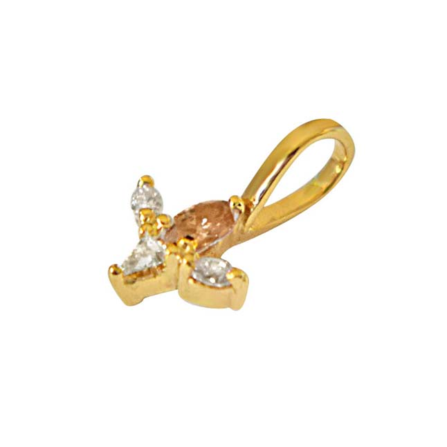 IGL CERT Pear, Triangle & Marquise Diamond Pendant in 18kt Gold