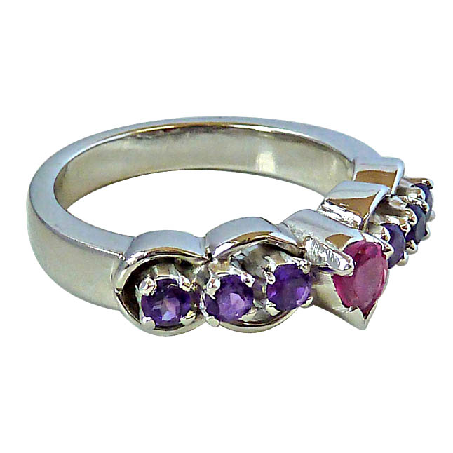 Pear shape Pink Tourmaline & Round Purple Amethyst rings in Silver for Her
