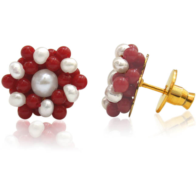 Pearl & Red Coral Earrings -Kudajodi