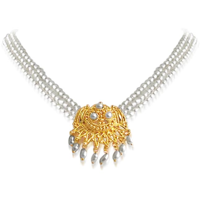 Buy pendant necklaces in diamond pearl and gold sets online surat pearl necklace with pendants pendants necklace aloadofball Choice Image