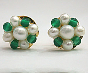 Pearl Green Onyx Kudajodi Earrings -Kudajodi